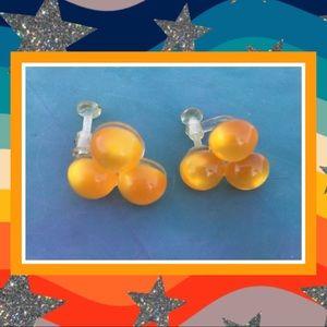Vintage Orange Circles Plastic Screwback Earrings